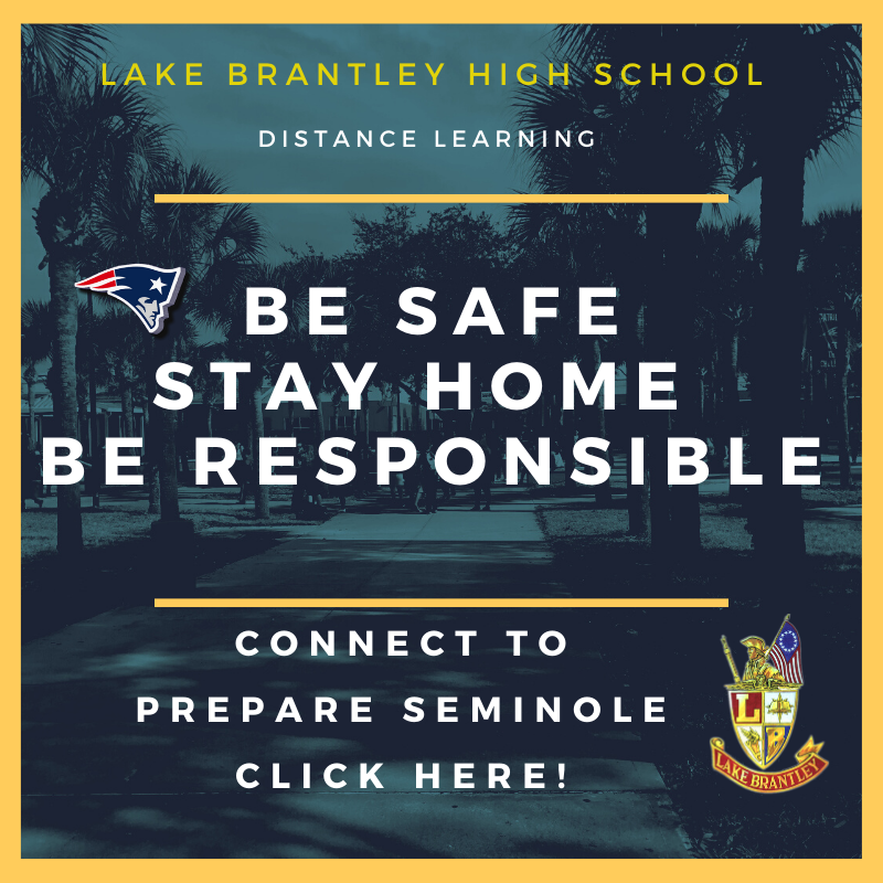 Be Safe. Stay Home. Be Responsible. Connect to Prepare Seminole. Click Here